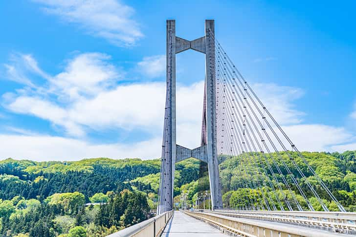 秩父公園橋(秩父ハープ橋)のある風景