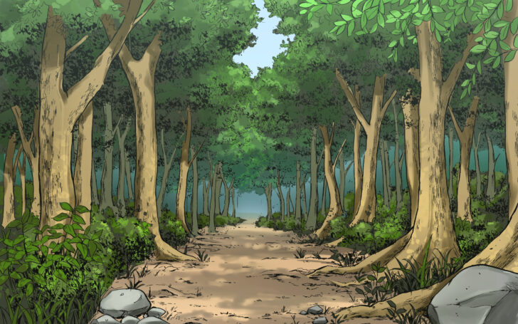 漫画風カラーイラスト 自然物 森